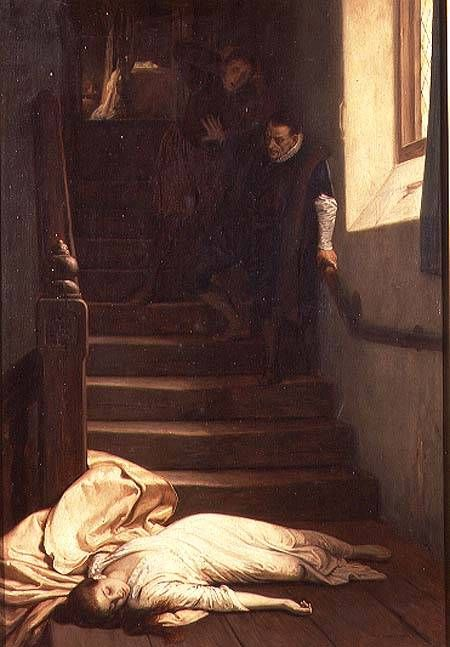 William Frederick Yeames imagines, 'The Death of Amy Robsart in 1560'. Amy Dudley, (nee Robsart) the Countess of Leicester, wife of Robert Dudley.