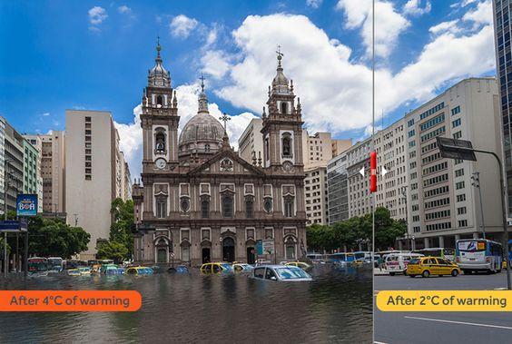 Aumento do nível do mar pode inundar grandes cidades litorâneas até o fim do século - fotos interativas mostram os dois cenários possíveis