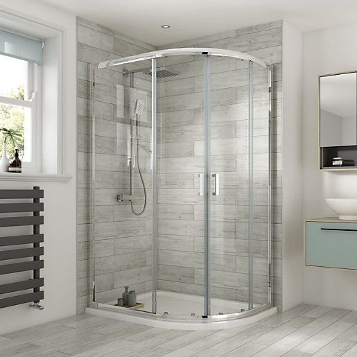 Wickes 1200 X 900mm Offset Quadrant Semi Frameless Sliding Shower Enclosure Chrome Frameless Sliding Shower Doors Shower Enclosure Bathroom Design Small