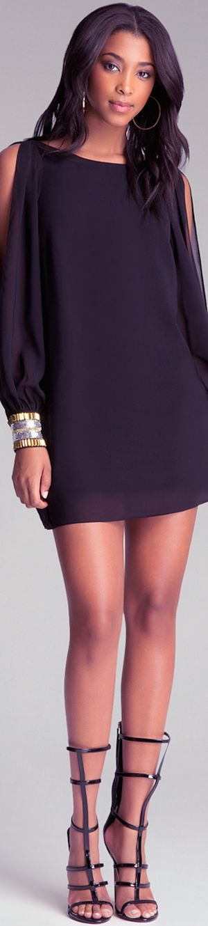 BEBE BELL SLEEVE MINI DRESS: