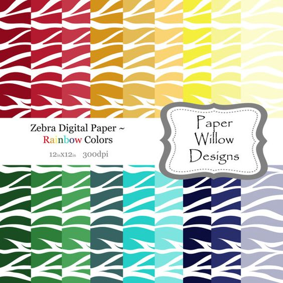 Zebra Digital Paper Pack 02 ... 18 12x12 by PaperWillowDesigns, $5.00