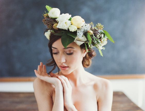 organic floral wedding headpiece for the bride