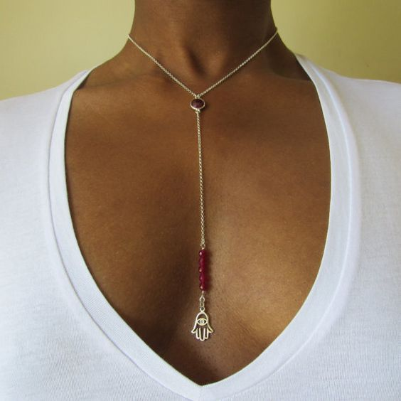 Natalie Hamsa necklace  dainty chains red Quartz by FortyFourLang