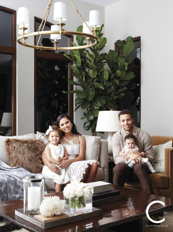 Celebrity home interiors - Steph & Ayesha Curry's Nor Cal Mediterranean style home tour featuring design by William Sonoma Home.