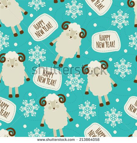 Seamless pattern with sheep. Happy New Year! - stock vector