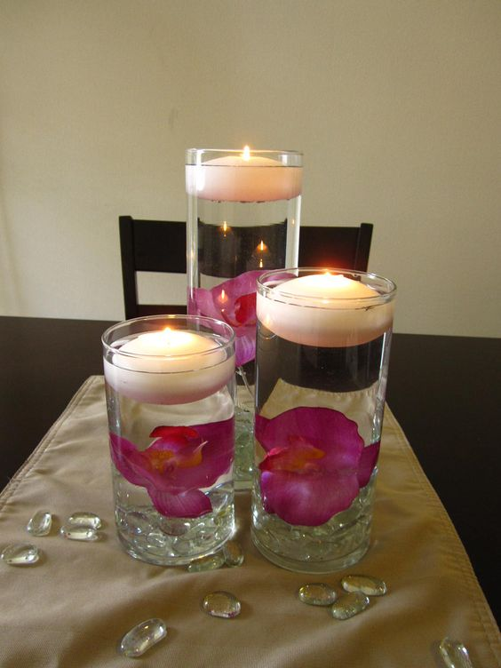 The flowers o jays and floating candles on pinterest