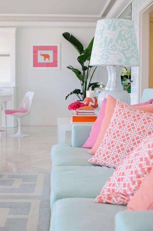 Just Pretty! Pink and aqua blue living room by Maria Barros.  Beach home!: