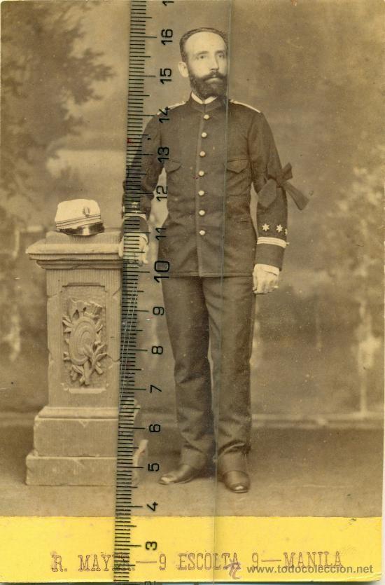MILITAR.FILIPINAS.CAPITAN INFANTERIA. LUTO MUERTE REY ALFONSO XII. 1885.MANILA .CABINET. MUY RARA. - Foto 1