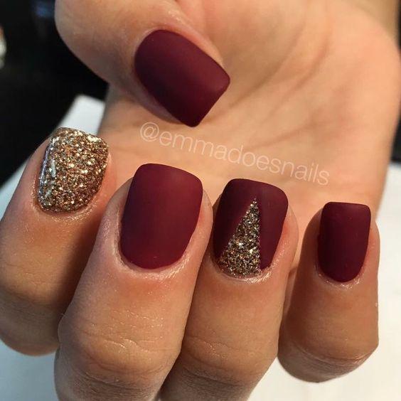 Matte nails, red nails, glitter nails, gold nails, fall nails, nail art, nail de...: