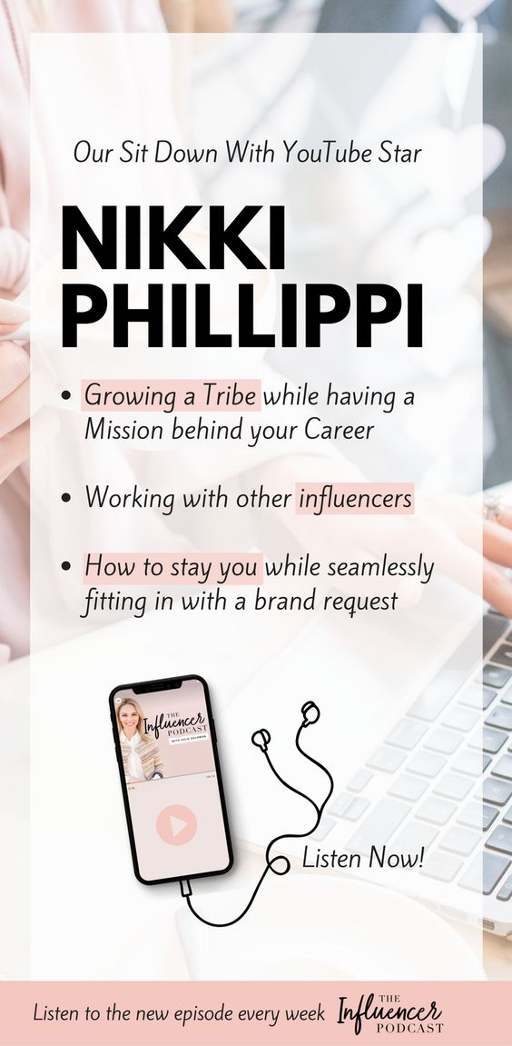The lovely Nikki Phillippi shares her insight on the world of YouTube, (where she has 1.3+ million followers!) and Instagram (with over 400K followers!) and how to build a loyal, engaged community. Building a community, growing your business, growing a tribe, the influencer podcast, podcast for bloggers, Julie Solomon. #theinfluencerpodcast #marketing #blogging #nikkiphillippi