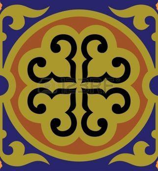 ISLAMIC BORDER: Patrón sin fisuras stock vector, uso para el fondo de azulejos, de color