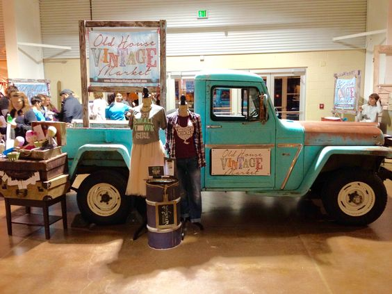 Old House Vintage Market, Loveland January 2017 had a wonderful Welcome at the entrance with this beautiful vintage turquoise truck. Junk Chic 5280 was a proud vendor and looking forward to the fall market back in Loveland at The Ranch.