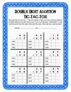 math worksheet : double digit addition tic tac toe : Tic Tac Toe Math Worksheets