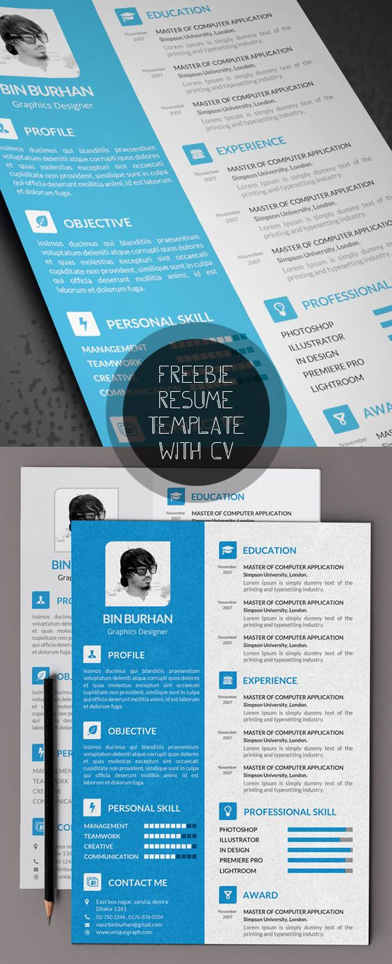 18 free modern cv    resume templates  u0026 psd mockups