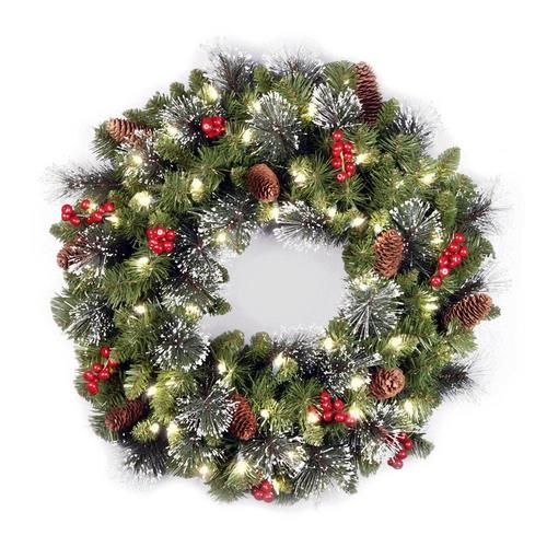 Amazon Com Noma Pre Lit Christmas Wreath For Front Door Battery Operated Wr Pre Lit Christmas Wreaths Best Christmas Lights Christmas Wreaths For Front Door