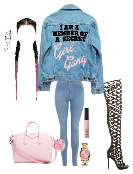 """""""Girl Gang💖"""" by dloved123 on Polyvore featuring Privileged, Topshop, High Heels Suicide, NARS Cosmetics, Givenchy, Michael Kors and Charlotte Simone"""