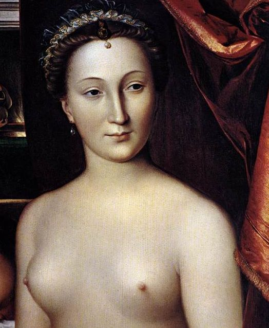 Diane de Poitiers (3 September 1499 – 25 April 1566), mistress of Henri II. She wielded much influence and power at the French Court, which continued until Henry was mortally wounded in a tournament accident, during which his lance wore her favour (ribbon) rather than his wife's.