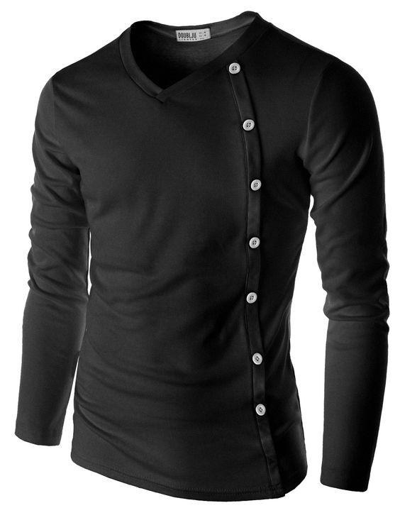 Doublju Men's Long Sleeve T-Shirt with Button Detail (CMTTL015) #doublju