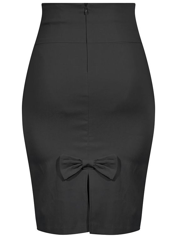 """Women's """"Bow Back"""" Pencil Skirt by Double Trouble Apparel (Black)"""