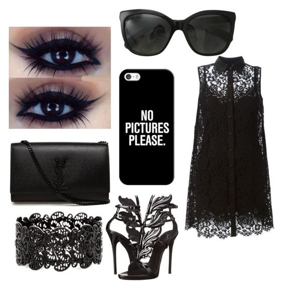 """black crime"" by crazyboobear on Polyvore featuring Dolce&Gabbana, Giuseppe Zanotti, Yves Saint Laurent, Chanel and Casetify"