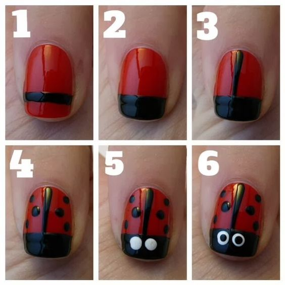 Lady bug nails are sooo easy! You can do it yourself! Perfect for spring and other holidays or seasons!#socute #havetotrythis: