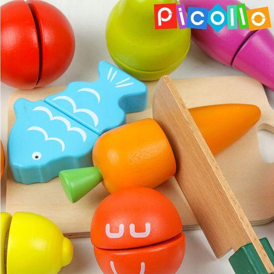 Duzy Zestaw Drewniane Owoce I Warzywa Do Krojenia 8609139181 Oficjalne Archiwum Allegro Wooden Play Food Pretend Play Food Toy Kitchen Set