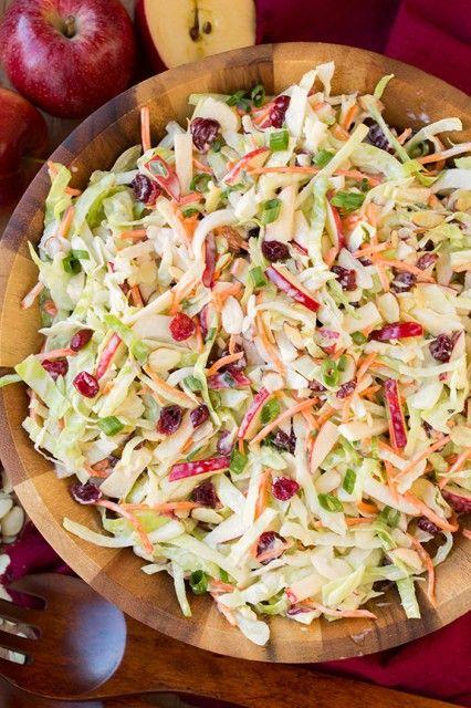 Apple Cranberry and Almond Coleslaw [sub vegan mayo if you're vegan] :))