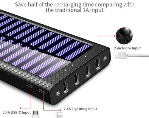 Tssibe Mobile Solar Charger Bank Solar Power Batteries Solar Power Bank Solar Phone Chargers