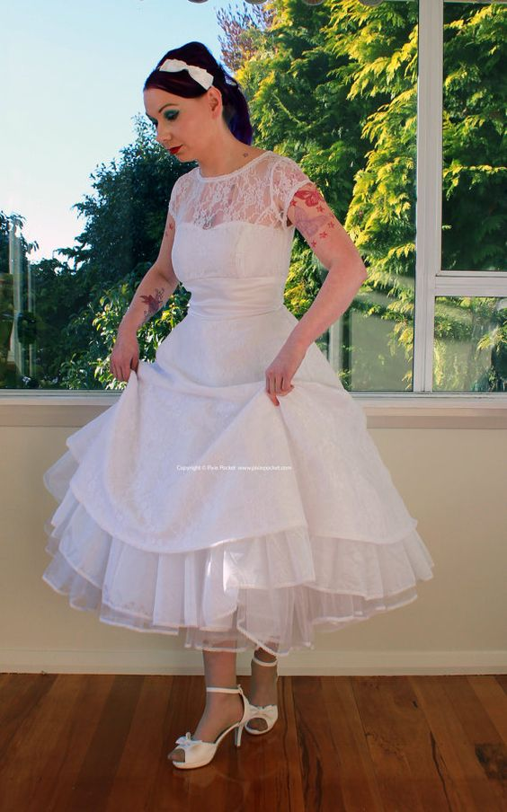 1950s Rockabilly Wedding Dress &39Lacey&39 with Lace Overlay ...