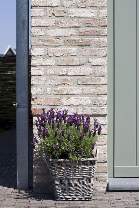 White wash brick gray grren door the paper mulberry - How to whitewash brick house exterior ...