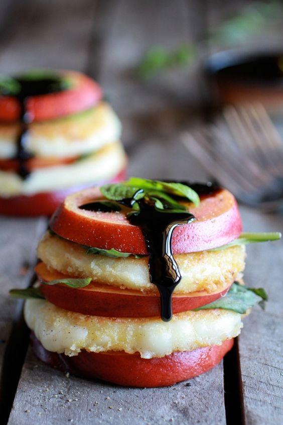 Fried Mozzarella, Basil and Nectarine Stacks with Balsamic Glaze