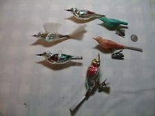 Lot van 6 vintage GLAS VOGEL Ornamenten ** WOW **