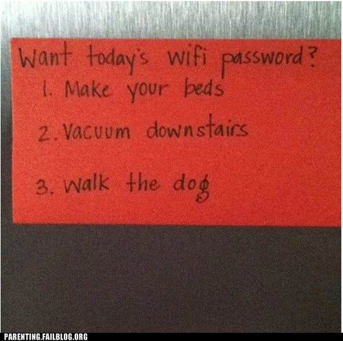 How badly do you want to get in the internet? I'd do this with the TV too... I am sure they will have TV passwords by the time I have kids.