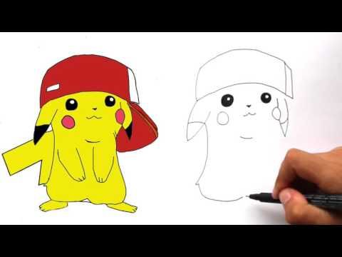 How To Draw Pikachu With Ash S Hat Step By Step Youtube Pikachu Drawing Cute Easy Drawings Mini Drawings