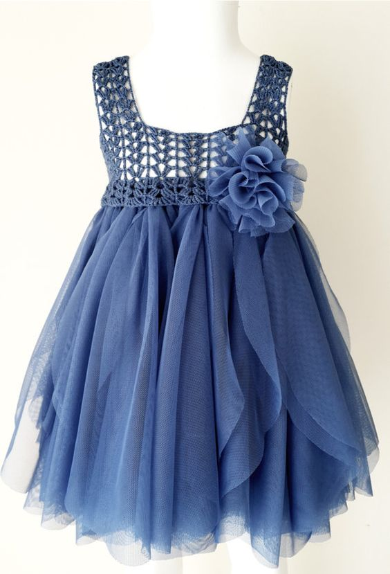 Ready to ship. Size 12-18 month. Indigo Blue Empire Waist Baby Tulle Dress with Stretch Crochet Top.: