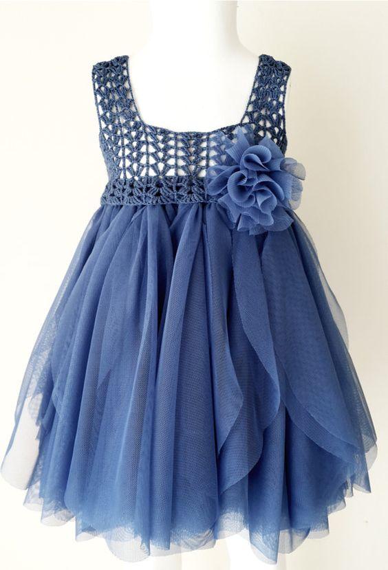 Indigo Blue Empire Waist Baby Tulle Dress with от AylinkaShop