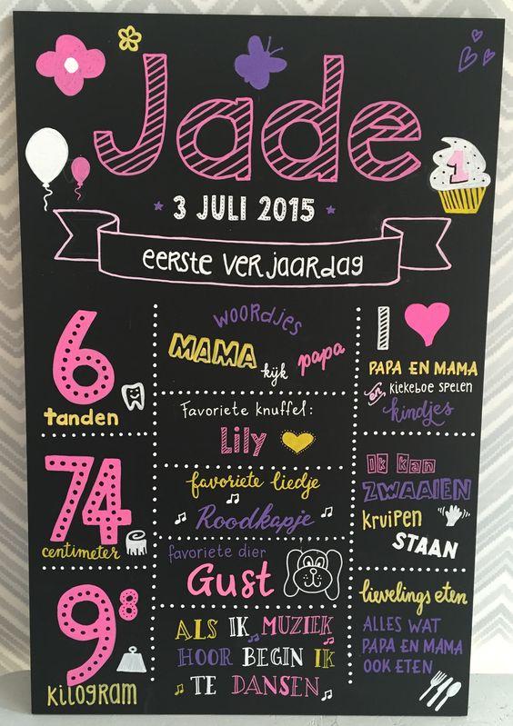 Handgeschreven krijtbord eerste verjaardag kind origineel aandenken cadeau cadeau krijtperk - Origineel foto kind ...