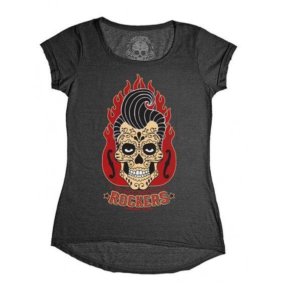 camiseta caveira rockers