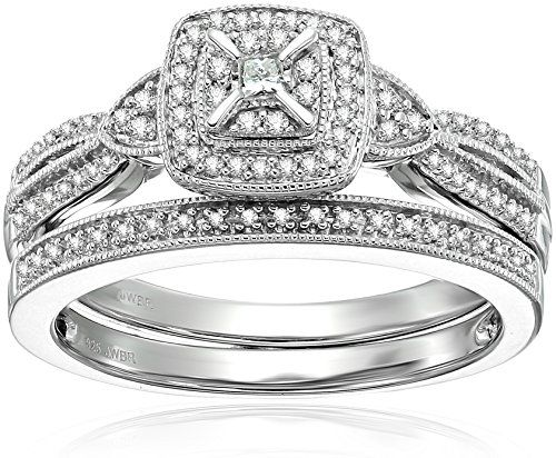 Amazon Collection Sterling Silver Diamond Bridal Ring Diamond Wedding Rings Sets Diamond Bridal Sets Bridal Ring Sets