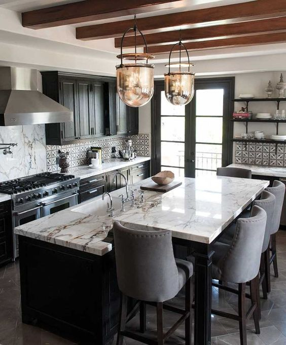 These Two Tier Kitchen Islands Are Making Us Do A Double Take Hunker Kitchen Island With Sink Espresso Kitchen Cabinets Color Schemes Kitchen Cabinet Color Schemes