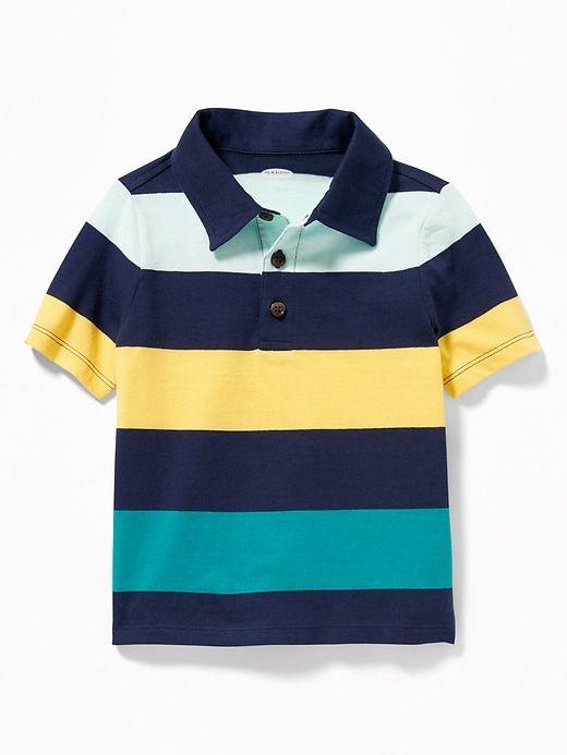 Polo Ralph Lauren Infant Boy/'s Striped Rugby Collar Blue Multi Polo Shirt Sz 18M