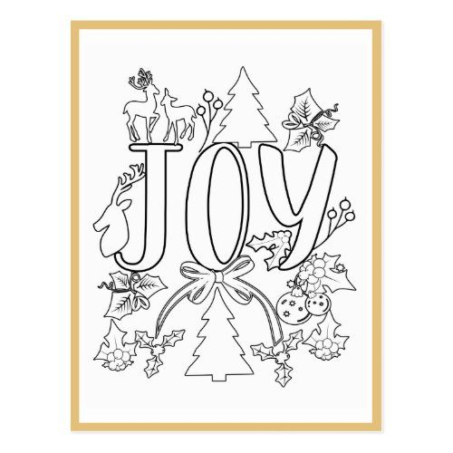 Joy Christmas Coloring Page Activity Card Zazzle Com Christmas Coloring Pages Christmas Colors Activity Cards