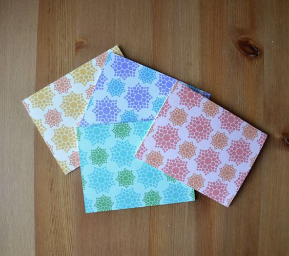 Dot A Mandala Set of 8 Patterned Notecards by GingerPrintsCo