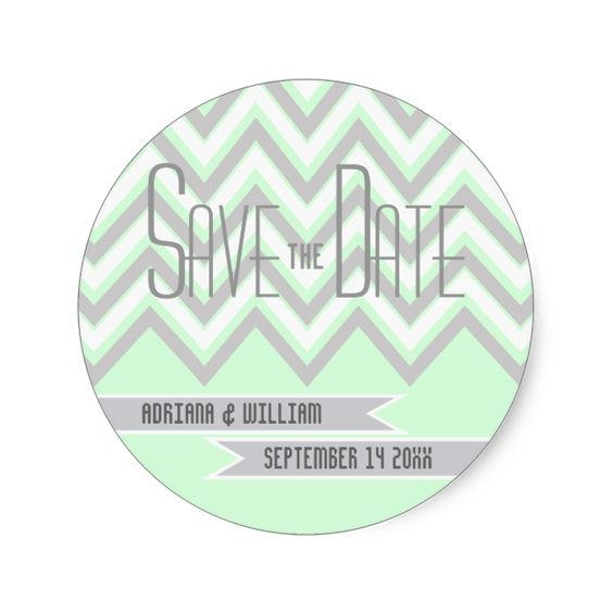 Modern chevron grey, mint wedding Save the Date Classic Round Sticker