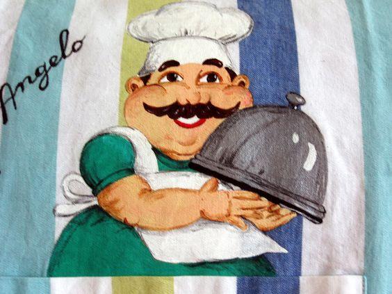 Il cuoco Angelo - pittura su stoffa (su un grembiule da cucina)