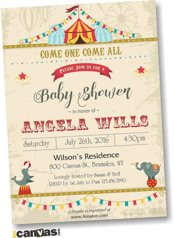 Circus baby shower invitation with circus animals circus babyshower theme carnival shower - Carnival themed baby shower ideas ...