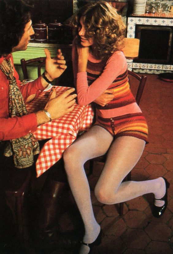 1970s fashion: hot pants worn with pantyhose. I had a pair of purple hot pants with a  mushroom print that I wore with purple tights in the 9th grade. Seeing that picture now makes me CRINGE!!  What was I thinking?
