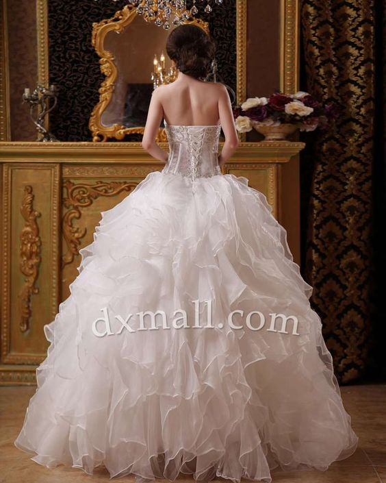 Ball Gown Wedding Dresses Sweetheart Floor Length Organza Satin Ivory 010010200055