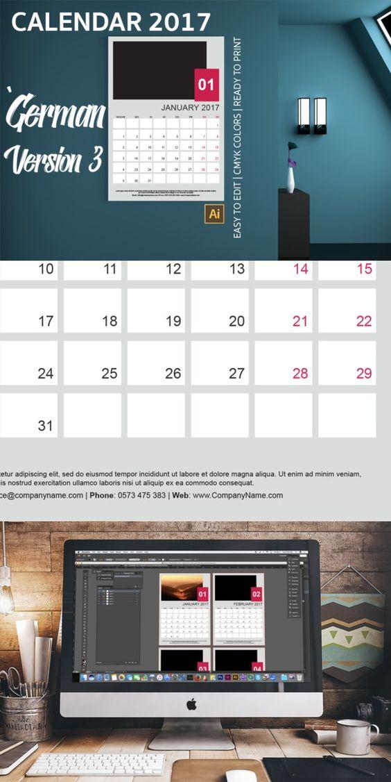 German Wall Calendar 2017 Version 3