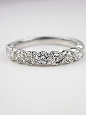 Antique Style Wedding Band With Pear Brilliant Cut Diamonds RG 3322a